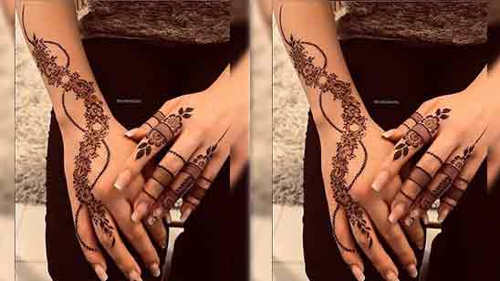 Back Hand Mehndi Simple Design