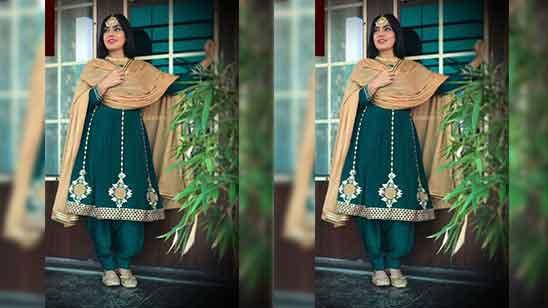 Punjabi Frock Suit With Plazo