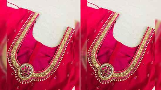 Simple Aari Work Blouse Hand Designs