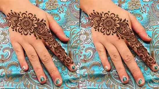 Back Hand Flower Mehndi Design