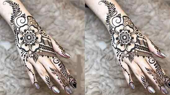 Back Hand Mehndi Design Circle