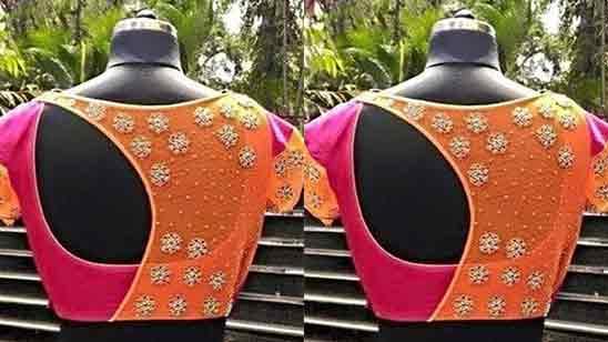 Back Neck Net Blouse Designs