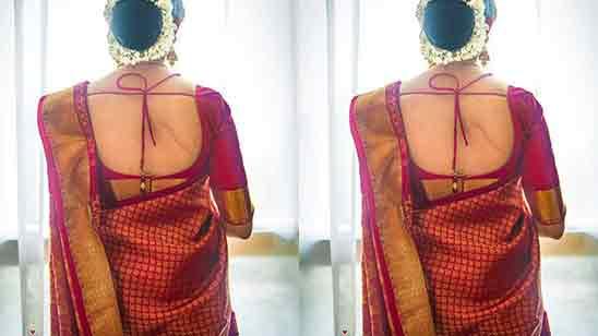 Back Neck Silk Saree Blouse Designs