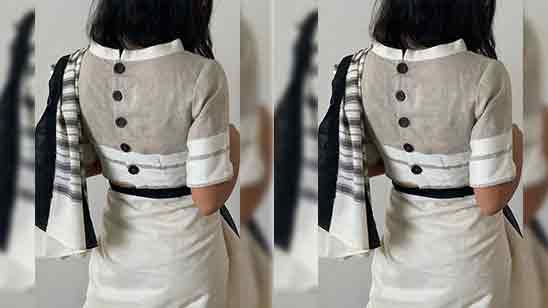 Back Side Collar Blouse Design