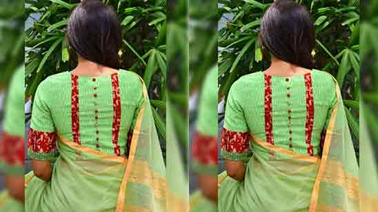 Back Side Cotton Blouse Design