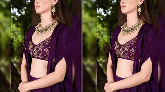 Back Side Crop Top Blouse Designs