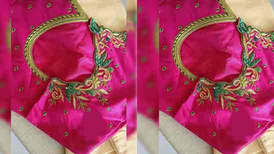 Back Side Pattu Saree Blouse Designs