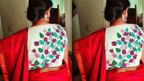 Back Side Silk Saree Trendy Blouse Design