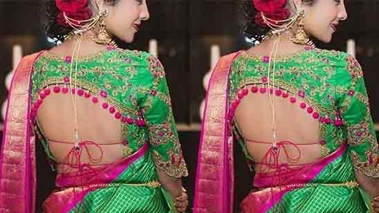 Back Side Simple Blouse Designs For Silk Sarees