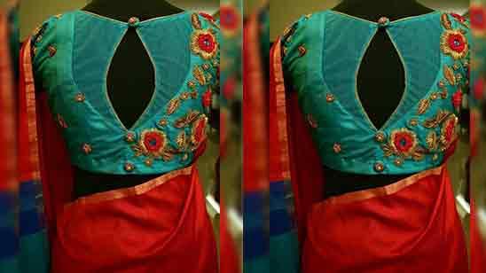 Back Side Simple Stylish Blouse Design