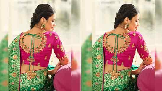 Back Side Traditional Silk Saree Blouse Designs Back Neck