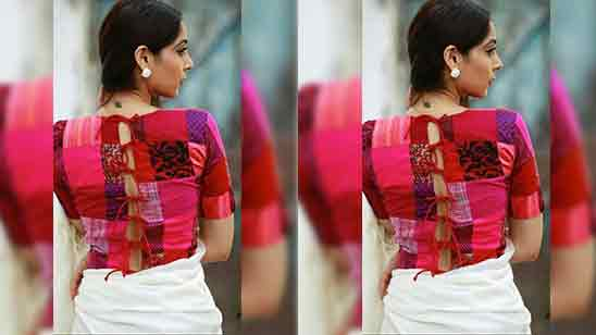 Back Side Traditional Silk Saree Blouse Designs