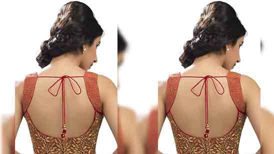 Big Border Blouse Back Neck Designs
