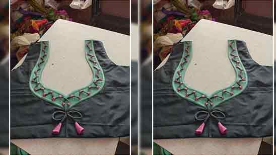 Blouse Back Neck Designs With Patch Work Images