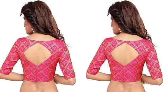 Boat Neck Back Side Blouse Neck Design