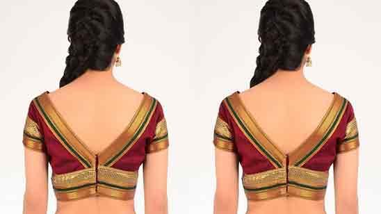 Border Silk Saree Blouse Back Neck Designs