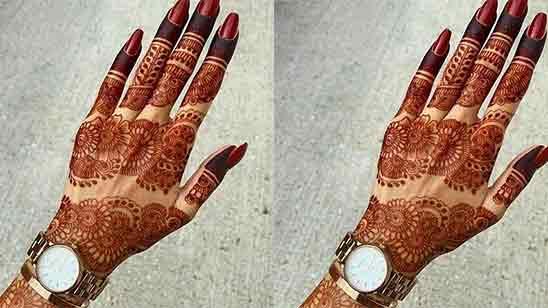 Finger Mehndi Design for Front Hand