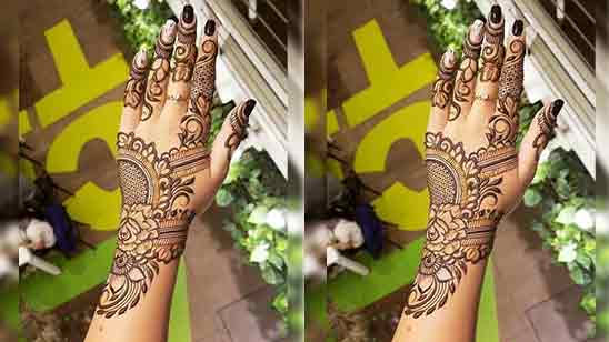 Front Hand Flower Mehndi Design