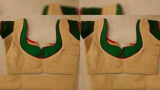 Patch Work Silk Saree Blouse Designs Back Neck