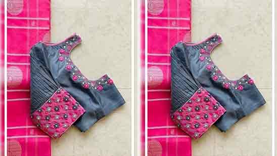 Pattu Blouse Simple Maggam Work Designs