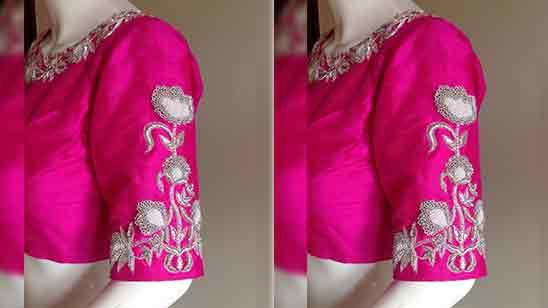 Peacock Design Aari Work Blouse