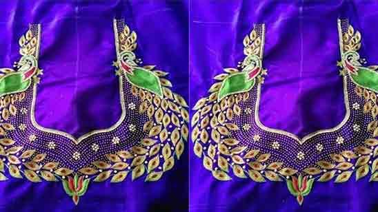 Peacock Thread Work Maggam Work Blouse Designs