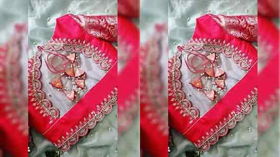 Simple Aari Work Blouse Designs For Silk Saree