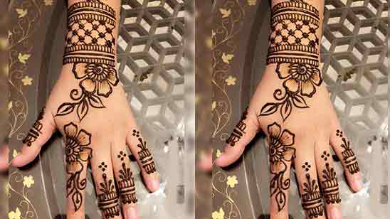 Simple Back Hand Mehndi Design Bridal