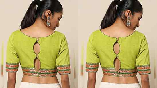 Simple Blouse Back Neck Designs For Silk Sarees Images
