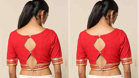 Simple Blouse Back Neck Designs With Lace