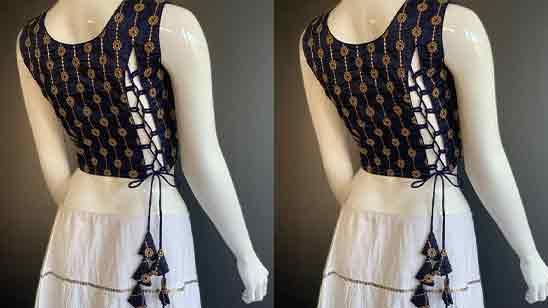 Simple Thread Work Blouse Designs For Pattu Sarees