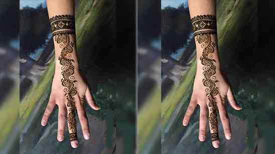 Stylish Full Hand Mehndi Design Front Side